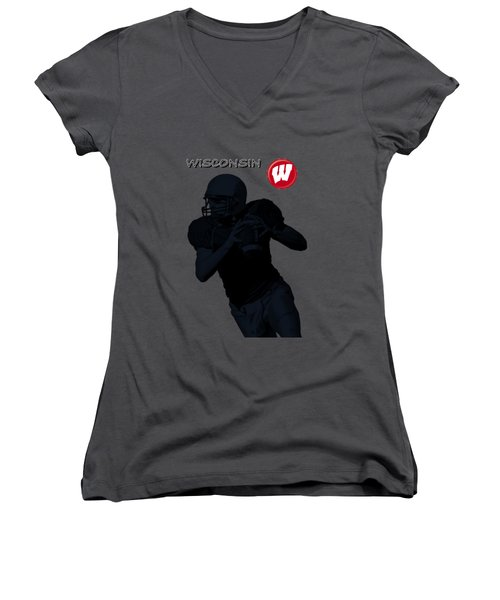 Wisconsin Football Women's V-Neck T-Shirt (Junior Cut) by David Dehner