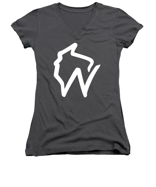 Wisconsin W Women's V-Neck (Athletic Fit)