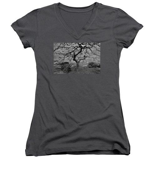 Women's V-Neck T-Shirt (Junior Cut) featuring the photograph Wisdom Bw by Jonathan Davison