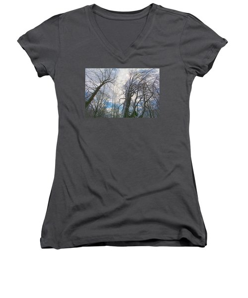 Wisdom Of The Trees Women's V-Neck T-Shirt (Junior Cut) by Angelo Marcialis