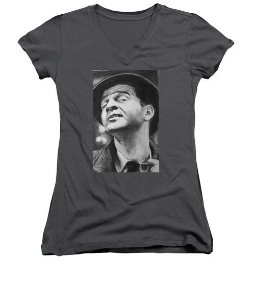 Women's V-Neck T-Shirt (Junior Cut) featuring the drawing Wise Guy by Rachel Hames