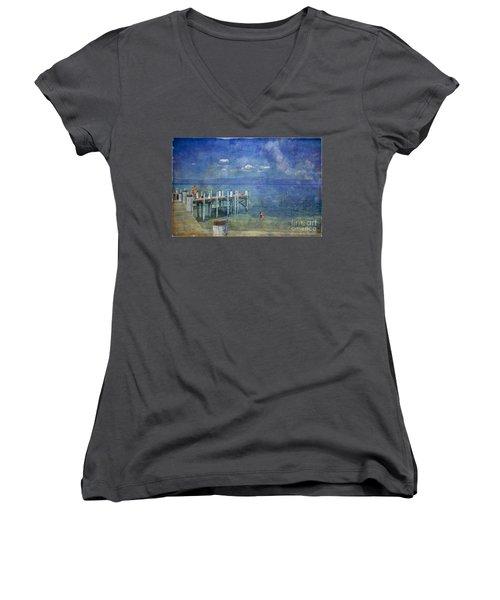 Women's V-Neck T-Shirt (Junior Cut) featuring the photograph Wish You Were Here Chambers Landing Lake Tahoe Ca by David Zanzinger