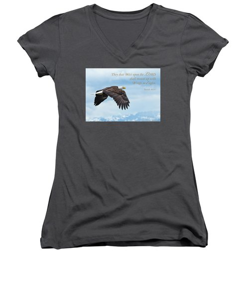 With Wings As Eagles Women's V-Neck (Athletic Fit)