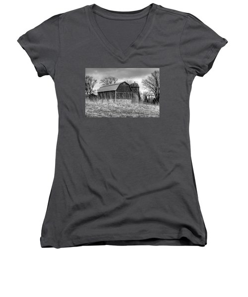 Withered Old Barn Women's V-Neck T-Shirt (Junior Cut) by Deborah Klubertanz