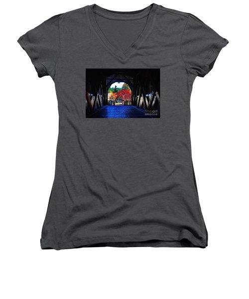 Within The Pass Creek Covered Bridge Women's V-Neck T-Shirt