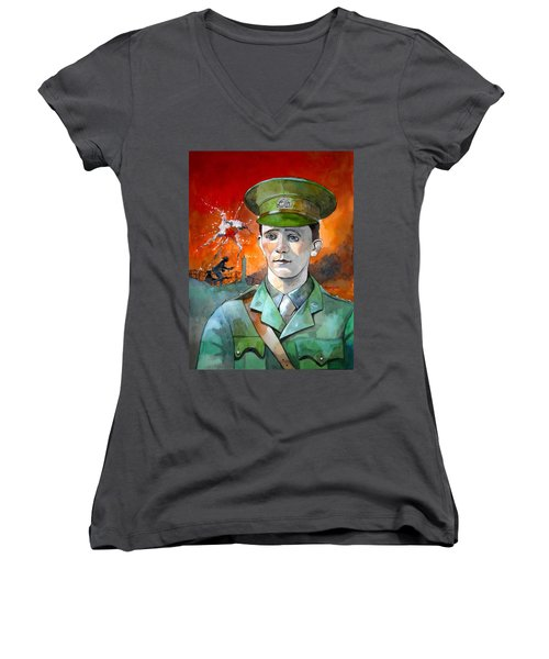 Women's V-Neck T-Shirt (Junior Cut) featuring the painting W.j. Symons Vc by Ray Agius