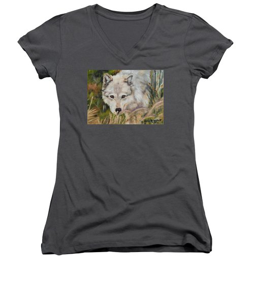 Wolf Among Foxtails Women's V-Neck (Athletic Fit)