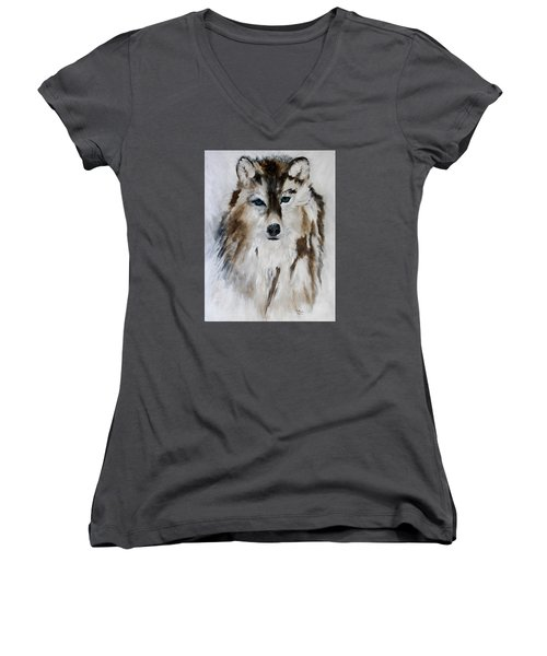 Wolf - Blue Star Women's V-Neck T-Shirt (Junior Cut) by Barbie Batson