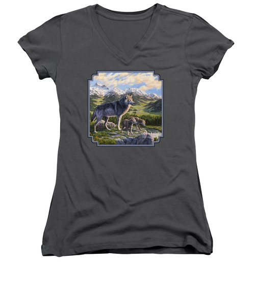 Wolf Painting - Passing It On Women's V-Neck T-Shirt (Junior Cut) by Crista Forest