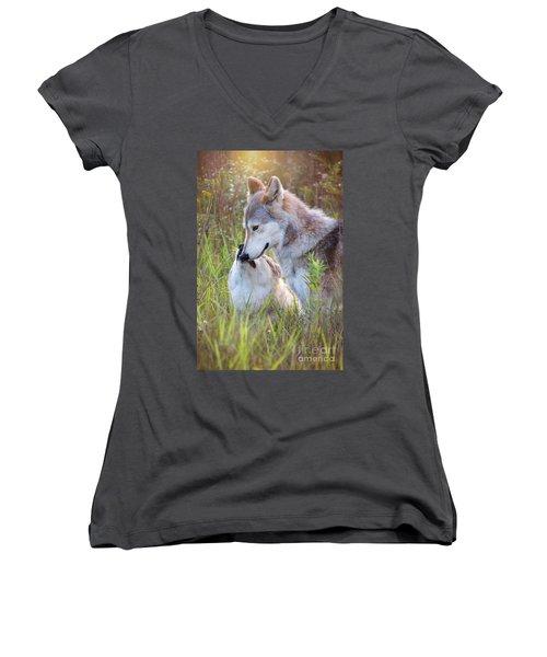 Wolf Soul Mates Women's V-Neck (Athletic Fit)