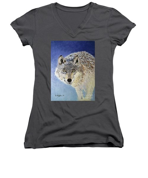 Wolf Study Women's V-Neck (Athletic Fit)