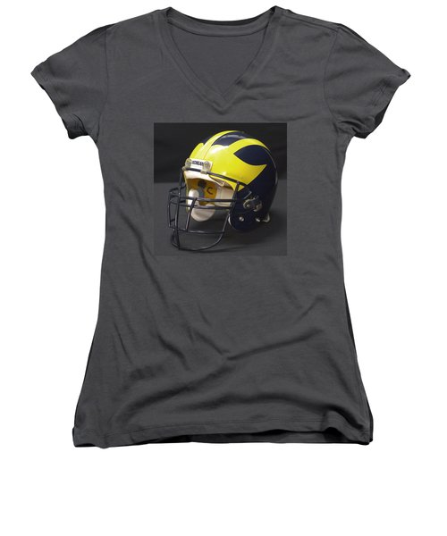 Women's V-Neck (Athletic Fit) featuring the photograph Wolverine Helmet From The 1990s by Michigan Helmet