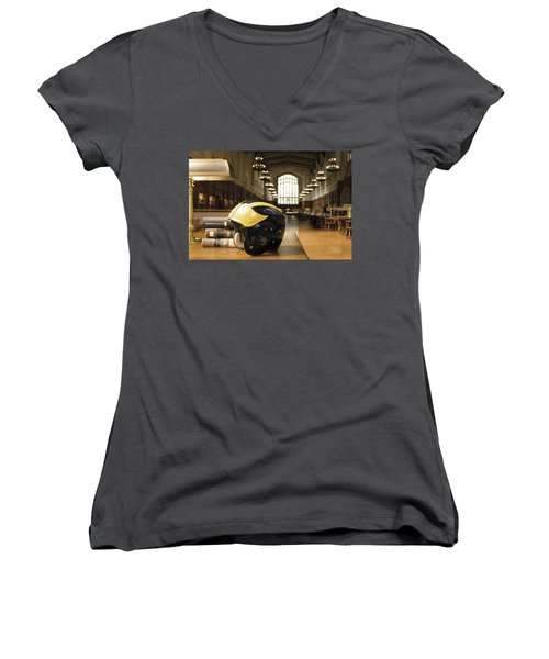 Wolverine Helmet In Law Library Women's V-Neck (Athletic Fit)