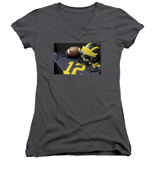 Wolverine Helmet With Football And Jersey Women's V-Neck