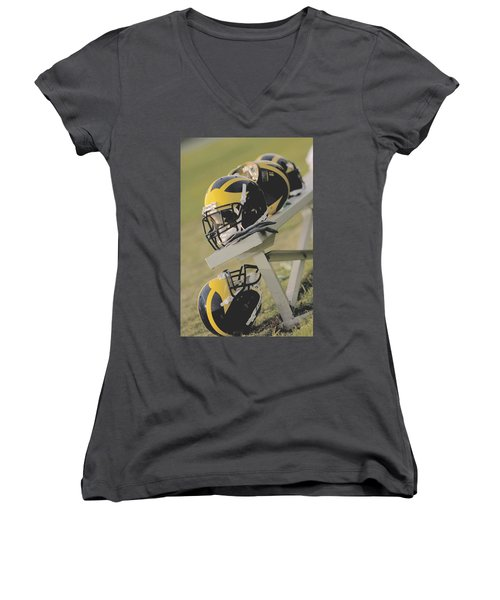 Wolverine Helmets On A Football Bench Women's V-Neck (Athletic Fit)