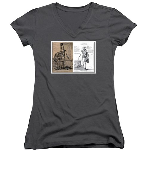 Woman And A Man Women's V-Neck T-Shirt (Junior Cut) by Maciek Froncisz