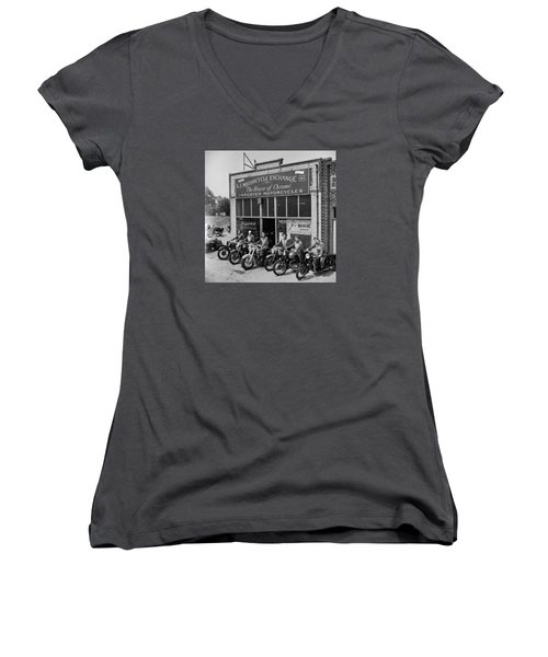 Women's V-Neck T-Shirt (Junior Cut) featuring the photograph The Motor Maids Of America Outside The Shop They Used As Their Headquarters, 1950. by Lawrence Christopher