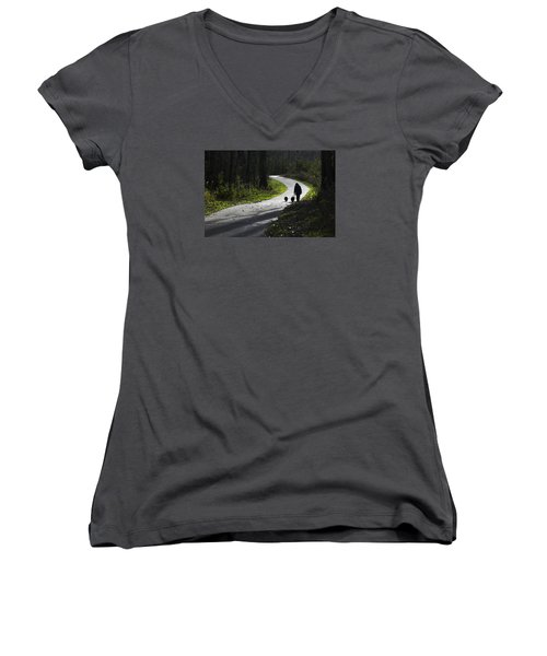 Woman And Border Collies Women's V-Neck
