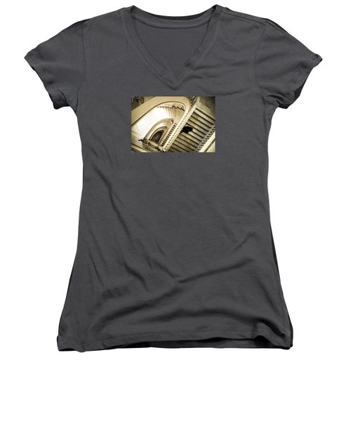 Woman Going Down At Staircase Women's V-Neck T-Shirt (Junior Cut) by Perry Van Munster