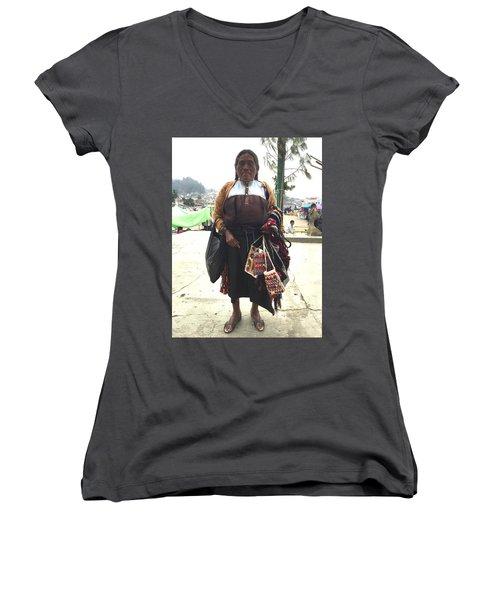 Woman In Chiapas. Women's V-Neck T-Shirt