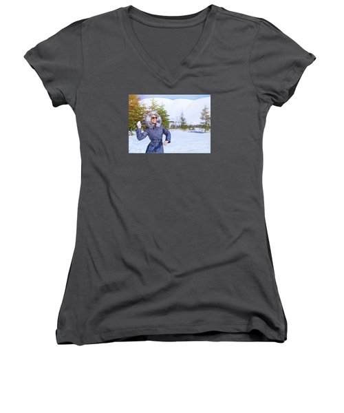 Woman Playing In Winter Park Women's V-Neck T-Shirt