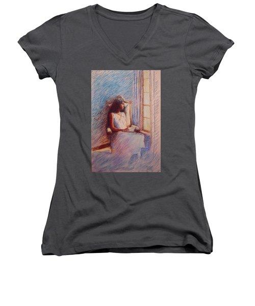 Woman Reading By Window Women's V-Neck T-Shirt