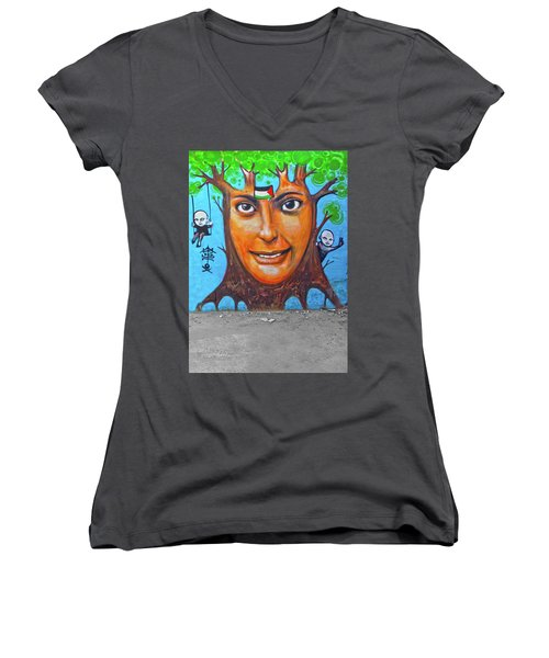 Women's V-Neck T-Shirt (Junior Cut) featuring the photograph Woman Tree by Munir Alawi