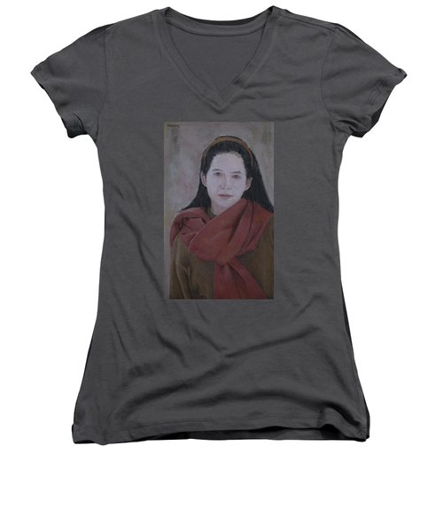 Woman With Scarf Women's V-Neck (Athletic Fit)