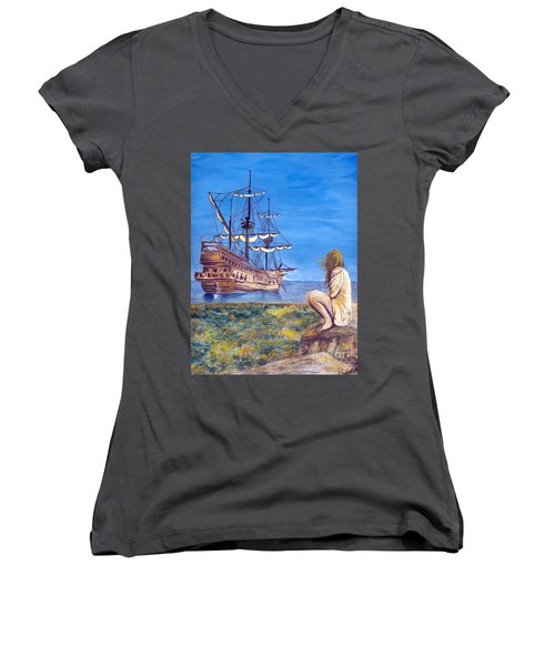 Woman With Spanish Ship Women's V-Neck (Athletic Fit)
