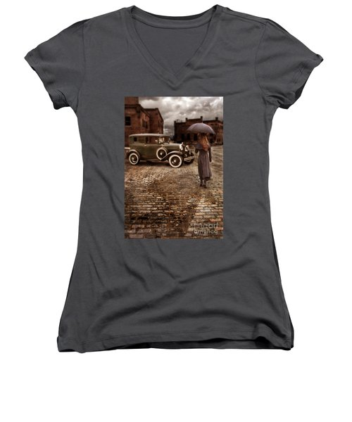 Woman With Umbrella By Vintage Car Women's V-Neck (Athletic Fit)