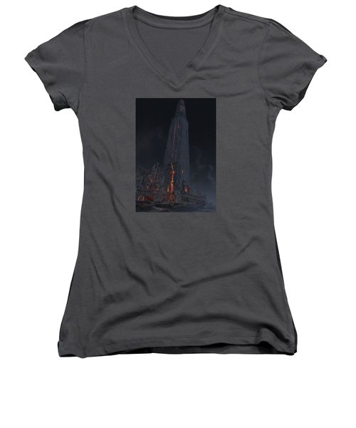 Women's V-Neck T-Shirt (Junior Cut) featuring the digital art Wonders Lighthouse Of Alxendria by Te Hu