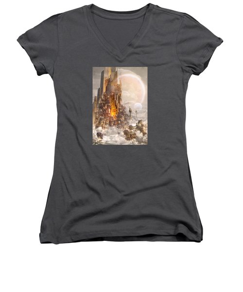 Women's V-Neck T-Shirt (Junior Cut) featuring the digital art Wonders Tower Of Babylon by Te Hu