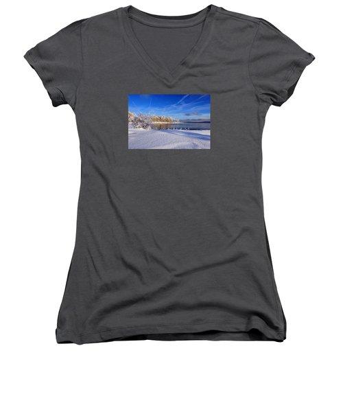 Wondrous Winter Women's V-Neck T-Shirt (Junior Cut) by Randi Grace Nilsberg