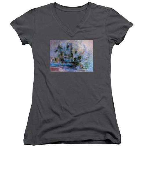 Wood Art  Lost In Time Women's V-Neck T-Shirt (Junior Cut) by Sherri's Of Palm Springs