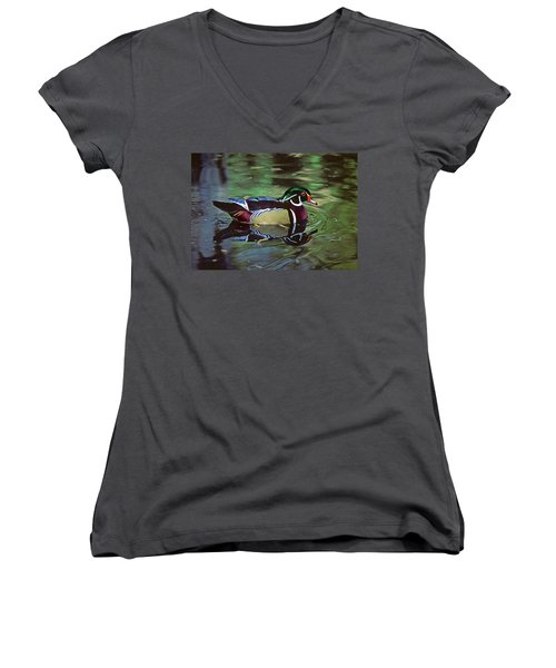 Women's V-Neck T-Shirt (Junior Cut) featuring the photograph Wood Duck by Marie Hicks
