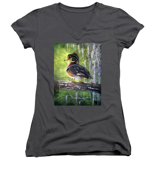 Wood Duck Women's V-Neck (Athletic Fit)