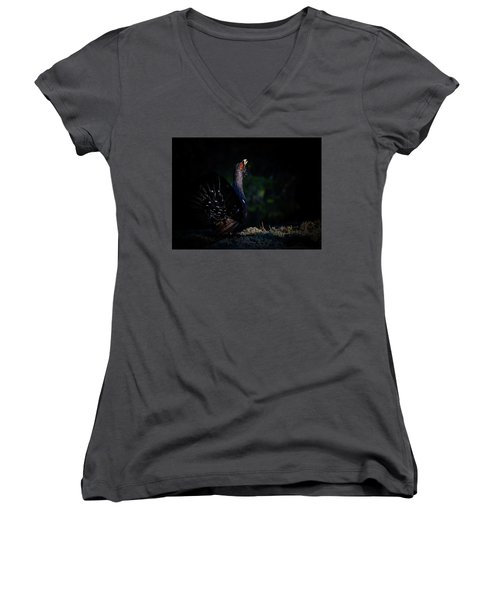 Women's V-Neck T-Shirt (Junior Cut) featuring the photograph Wood Grouse's Sunbeam by Torbjorn Swenelius