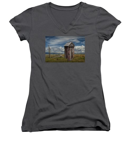 Wood Outhouse Out West Women's V-Neck T-Shirt (Junior Cut) by Randall Nyhof