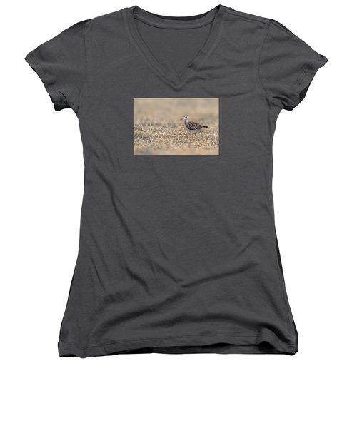 Women's V-Neck T-Shirt (Junior Cut) featuring the photograph Wood Sandpiper by Jivko Nakev