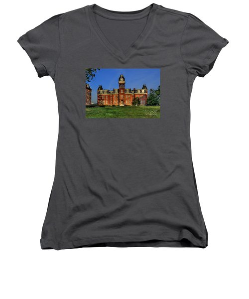 Woodburn Hall In Morning Women's V-Neck T-Shirt
