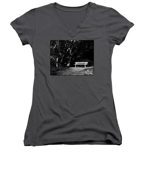 Wooden Bench In B/w Women's V-Neck (Athletic Fit)