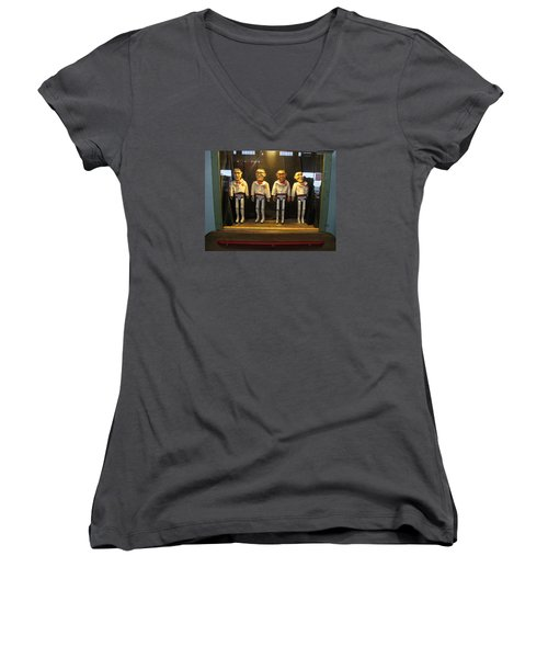 Women's V-Neck T-Shirt (Junior Cut) featuring the photograph Wooden Rat Pack by John King