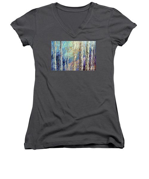 Women's V-Neck T-Shirt (Junior Cut) featuring the painting Woodland Breezes by Tatiana Iliina