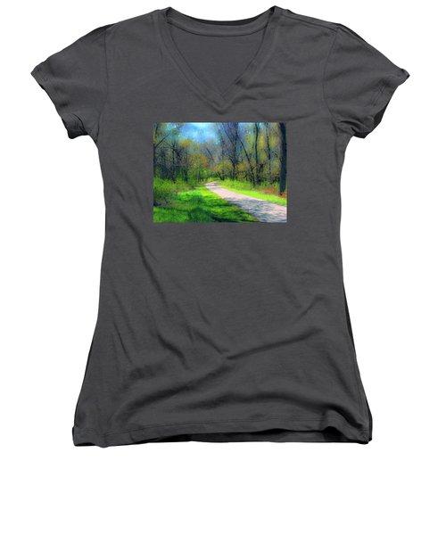 Woodland Trail Women's V-Neck T-Shirt (Junior Cut) by Cedric Hampton