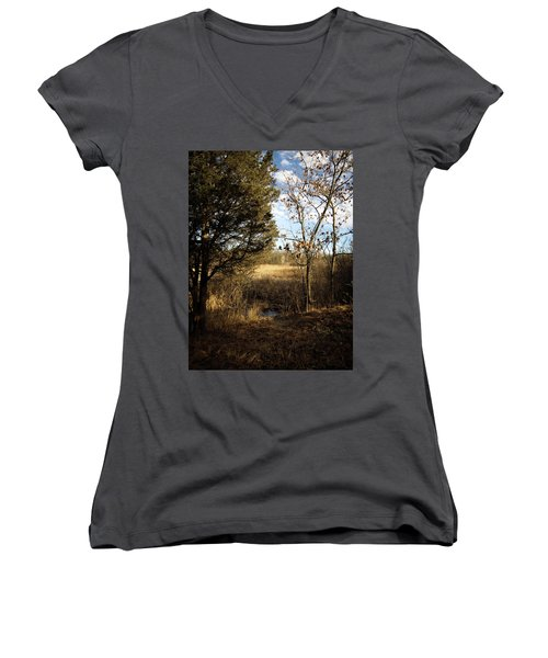 Woodland View  Women's V-Neck T-Shirt