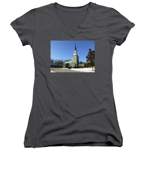 Woodlawn Cemetery Chapel Women's V-Neck (Athletic Fit)