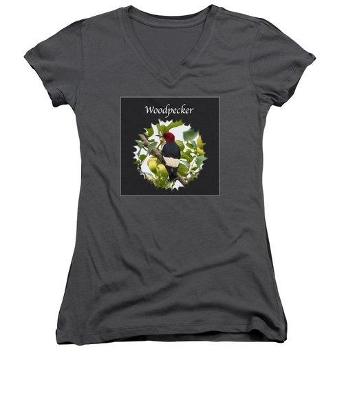 Woodpecker Women's V-Neck T-Shirt (Junior Cut) by Jan M Holden
