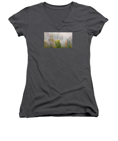Woods From Afar Women's V-Neck T-Shirt (Junior Cut) by Wanda Krack