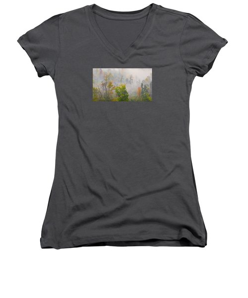 Woods From Afar Women's V-Neck (Athletic Fit)