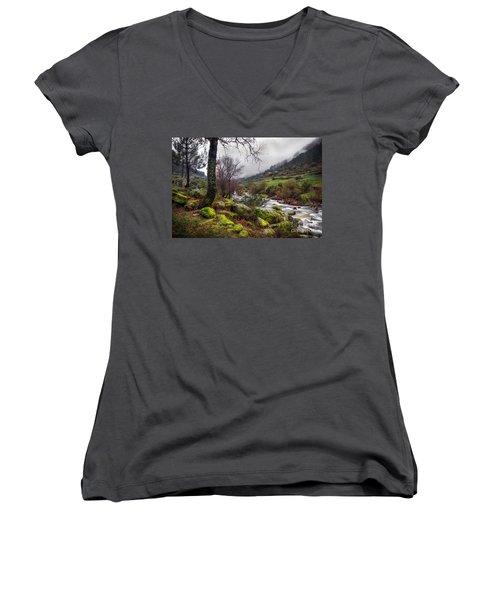 Woods Landscape Women's V-Neck (Athletic Fit)